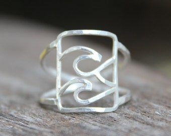 Swell Ring - Silver Wave Ring Surf Jewelry - Wave Ring - Boho Beach Jewelry