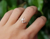 Lowercase Initial Ring - Personalized Initial Jewelry Dainty Custom Letter Ring