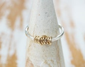In Stock - Spun Gold Ring - Silver and Gold Winding Ring Simple but Unique Mixed Metal Ring