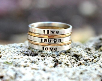 Stamped Stackable rings - Personalized hand stamped silver and gold stacking name rings