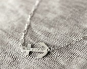 Sideways Anchor Necklace - Sterling Silver, Stamped, and Personalized