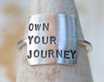 Storybook Ring - Own Your Journey, Own Your Story, Silver Personalized Inspirational Ring, Inspirational, Inspirational Jewelry