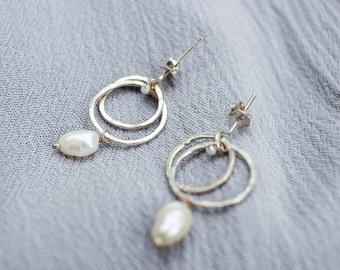 Mangata Dangles - Pearl Earrings Hoop Dangle Earrings Natural Pearl Bridal Earrings