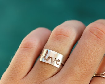 In Stock - Cursive Love Ring - hand sawed love word ring