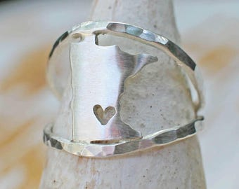 Any State Love Ring Remix - State Ring - Personalized State Jewelry