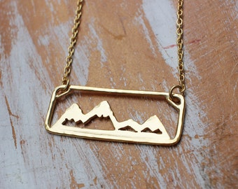 Gold Move Mountains Necklace - Adventure Necklace Outdoors Sterling Silver Hand Sawed Mountain Range Jewelry 18k Gold Vermeil Necklace