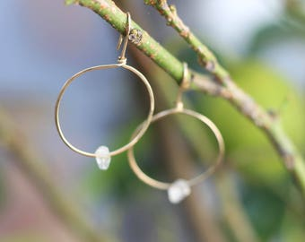 Jupiter Drops - Gold Filled and Herkimer Diamond Hoop Earrings - Gold Hoop Earrings - Boho Bride - Bridal Earrings - Thin Gold Hoops