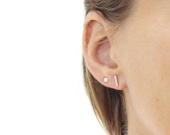 In Stock - Line Up Earrings - Silver Bar Earrings