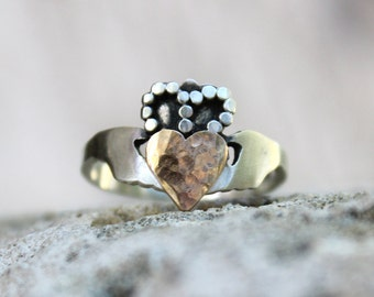 Handcrafted Modern Claddagh Ring - Irish promise friendship ring Unique Claddagh Ring