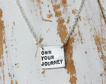 Storybook Necklace - Own Your Journey, Own Your Story, Silver Personalized Inspirational Jewelry