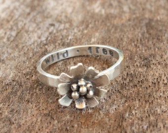 In Stock - Daisy Ring - Wild and Free Daisy Ring - Sterling Silver Flower Ring