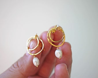 Gold Mangata Dangles - 18k Gold Vermeil Pearl Earrings Hoop Dangle Earrings Natural Pearl Bridal Earrings
