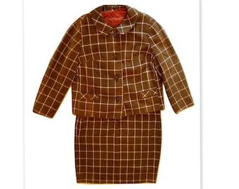 1960s Boxy Jacket Vintage Wool Skirt Suit
