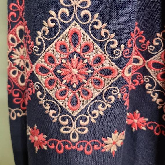 1970s Blue Embroidered Strasser Trachten Vintage … - image 5