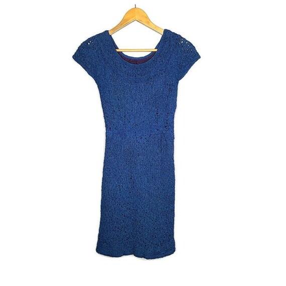 1950s Blue Raffia Ribbon Vintage Wiggle Dress