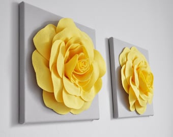 Yellow And Gray Kitchen Home Decor, Bright Yellow And Gray Wall Panels,  Lemon Yellow Rose Set Of Two, Gray And Yellow Home Decor Nursery