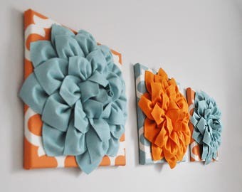 Teal BLUE And ORANGE Wall Art   Canvas Or Prints   Orange Blue Bathroom  Artwork   Bedroom Pictures   Flower Dahlias Set Of 3 Home Decor