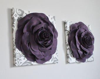 Pflaume Lila Wandkunst   Zucker Pflaume Wandkunst   Königlichen Wandkunst    Wolle Home Decor   3D Blumenkunst   Textilkunst   Kinderzimmer Blumen  Wandbilder