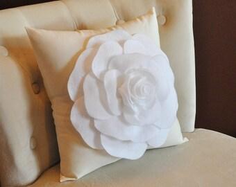 White Flower Pillow Etsy