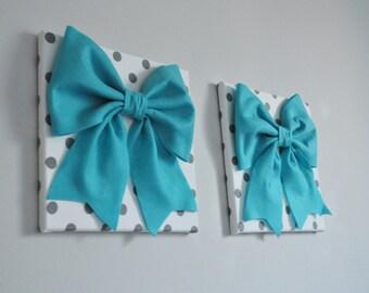 Teal Blue Aqua Gray, Wall Hangings, Bow Polka Dot Nursery, Turquoise Home  Decor, Bathroom, Modern, Designer Home Decor, Contemporary Design