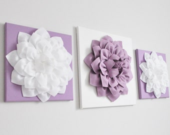 Purple Decor, Flower Wall Hangings, Purple Home Decor, Canvas Wall Art,3D  Flower, Purple, Nursery Room Decor, Purple Bouquet, Lilac Set Of 3