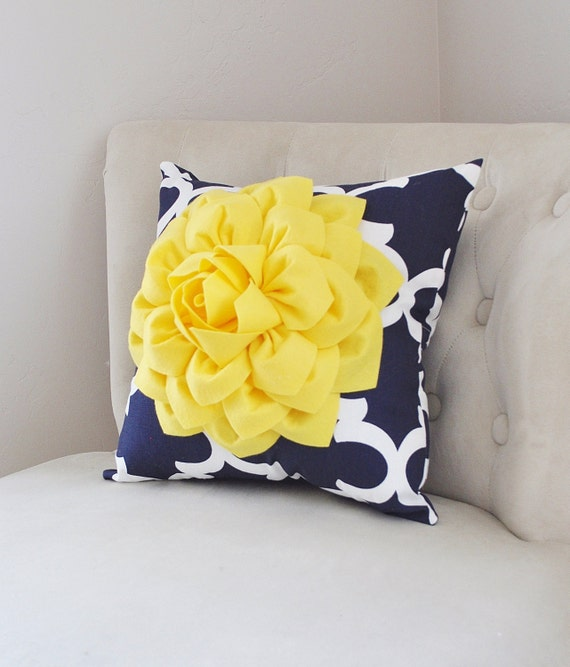 PILLOWS Decorative Bright Yellow Dahlia On Navy And White Etsy Fascinating Bright Yellow Decorative Pillows