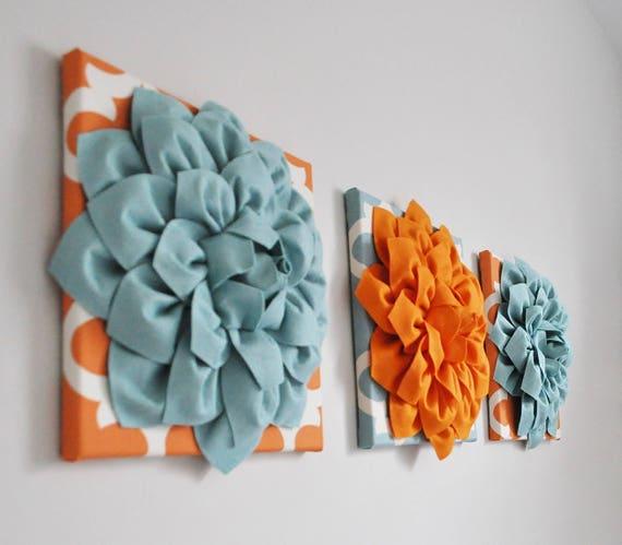 Teal Blue And Orange Wall Art Canvas Or Prints Orange Blue Etsy