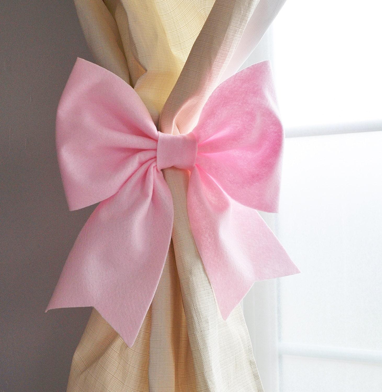 Curtain Tie Backs Curtain Holdbacks Light Pink Bow Nursery