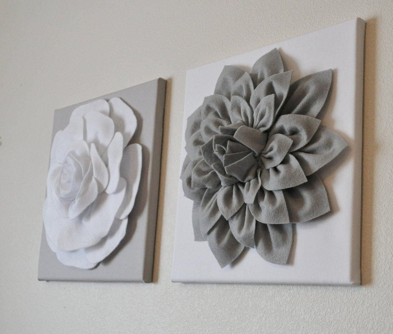 Nursery Wall Decor Two Wall Flowers Gray Dahlia On White Etsy