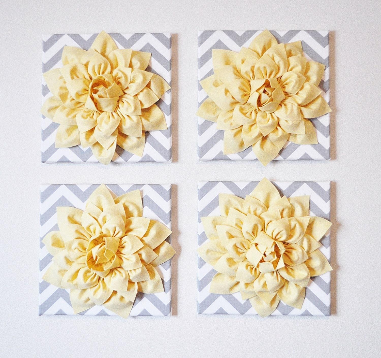 Wall Decor SET OF FOUR Light Yellow Dahlias on Gray and White | Etsy