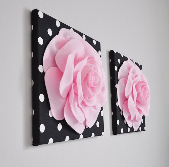 Home Decor Wall Art Light Pink and Black Rose Flower Burst ...