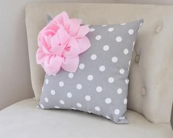 Decorative Pillow Light Pink Corner Dahlia on Gray and White Polka Dot Pillow Home Decor Nursery Decor