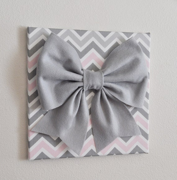 Wall Decor Large Gray Bow on Pink and Gray Chevron 12 | Etsy