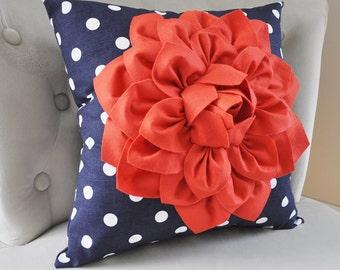 Coral Dahlia on Navy and White Polka Dot Pillow -Baby Nursery Pillows - Toss Pillow Decorative Pillow