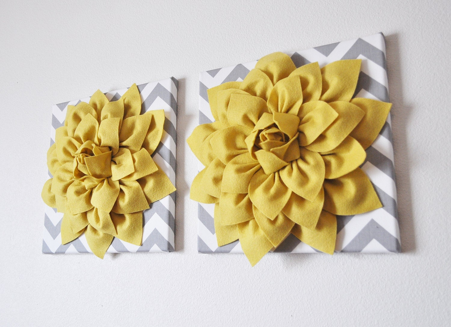 TWO Wall Flowers Mellow Yellow Dahlia on Gray and White | Etsy