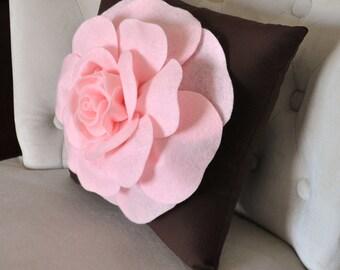 """Pink Rose on Brown Pillow 14""""x14"""" Throw Pillow"""