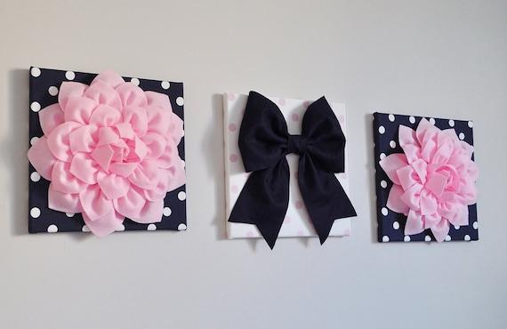 Fleur Rose Et Bleu Marine Et Noeud Pom Pom Art Décor De Chambre D