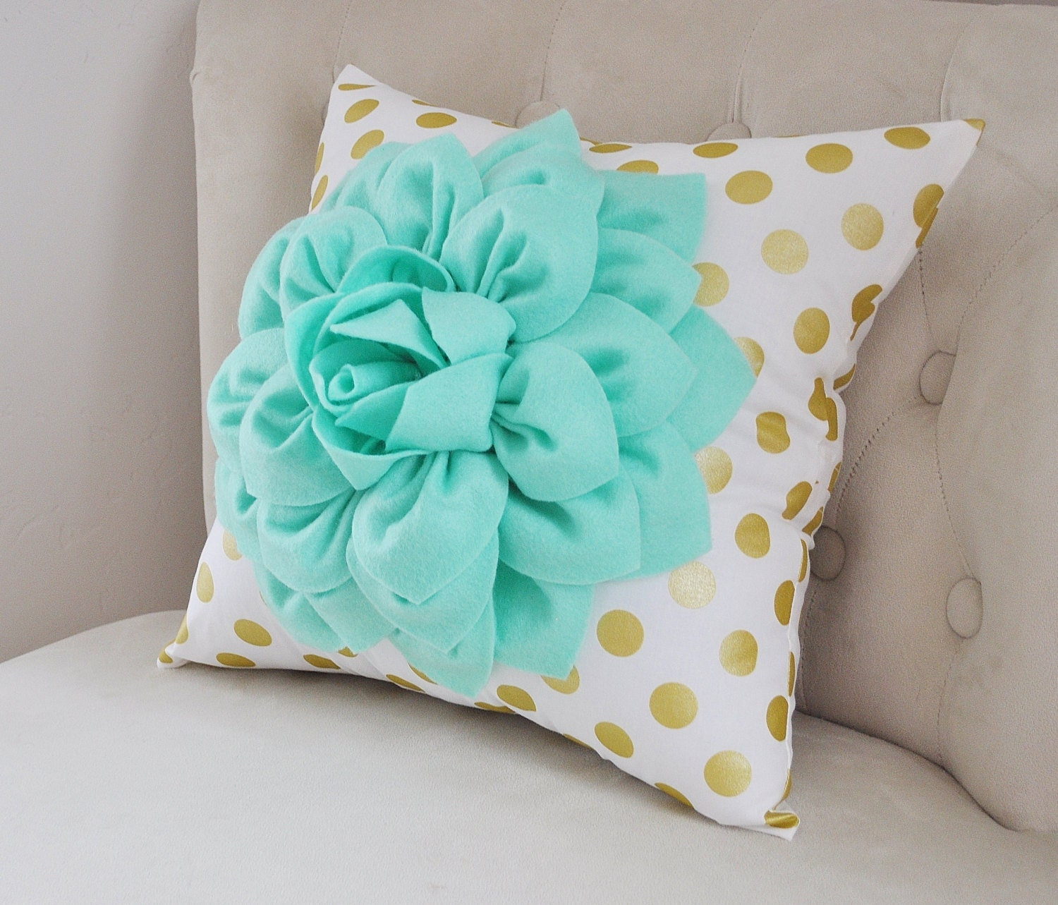Marion S Coral And Gold Polka Dot Nursery: Gold Polka Dot Pillow With Mint Green Dahlia Flower