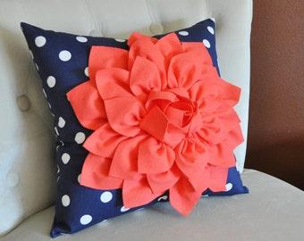 16 x 16 Coral Dahlia on Navy and White Polka Dot Pillow -Baby Nursery Pillow- Toss Pillow Decorative Pillow