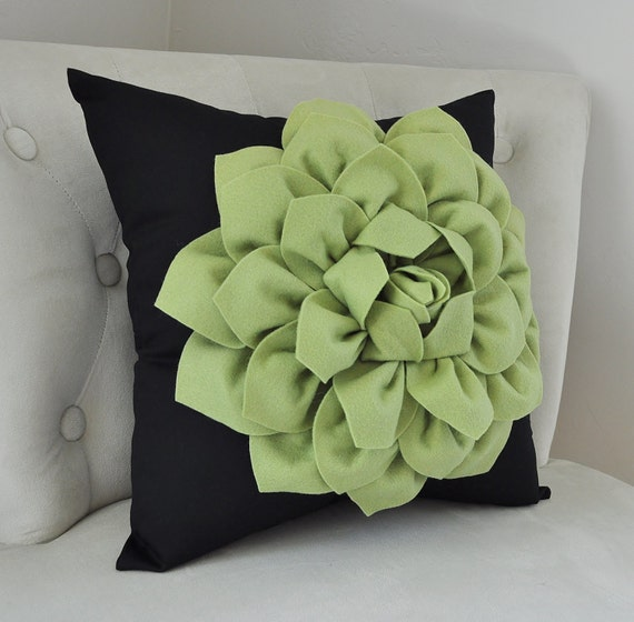 Sage Green Home Decor Dahlia Flower Olive Green Black