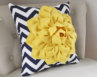 One Navy Pillow Cover - Decorative Pillows -16 x 16 Navy Blue Chevron Throw Pillow - Decorative Pillow Cushion Navy and Mellow Yellow Dahlia