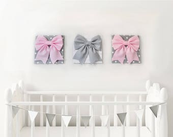 Baby Pink Bow Wall Art ~ Polka Dot Nursery Home Decor ~ Newborn Gift ~ Pink and Gray Bow Decor ~ Girls Room Wall Panels ~ Baby Shower Decor