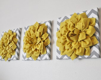 "Yellow Flower Wall Decor Three- Mellow Yellow Dahlia On Gray And White Chevron 12 x 12 "" Canvas Set- Wall Art- Nursery Decor - Wall Hangings"