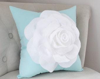 Living Room Pillow - Rose Pillow - Aqua Blue Pillows - Housewarming Gift - Mothers Day Gift - Baby Shower Gift - Aqua Nursery Pillow