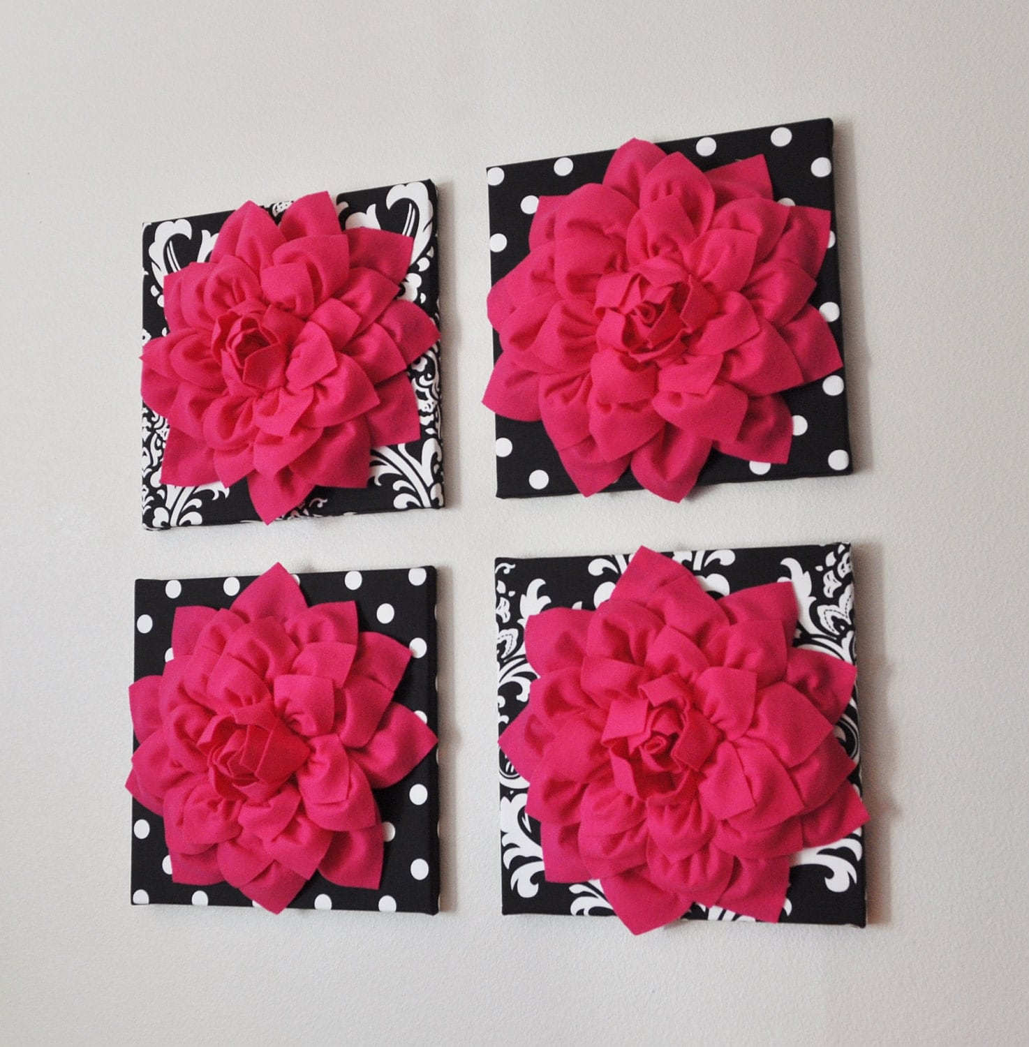 Wall Decor SET OF FOUR Hot Pink Dahlias on Black and White ...
