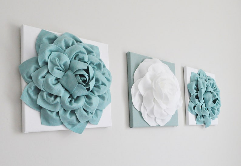 French Country Wall Decor Bathroom Decor Elegant Home Decor Dusty Blue Nursery Blue Kitchen Wall Art Dahlia Flower Bedbuggs Designs