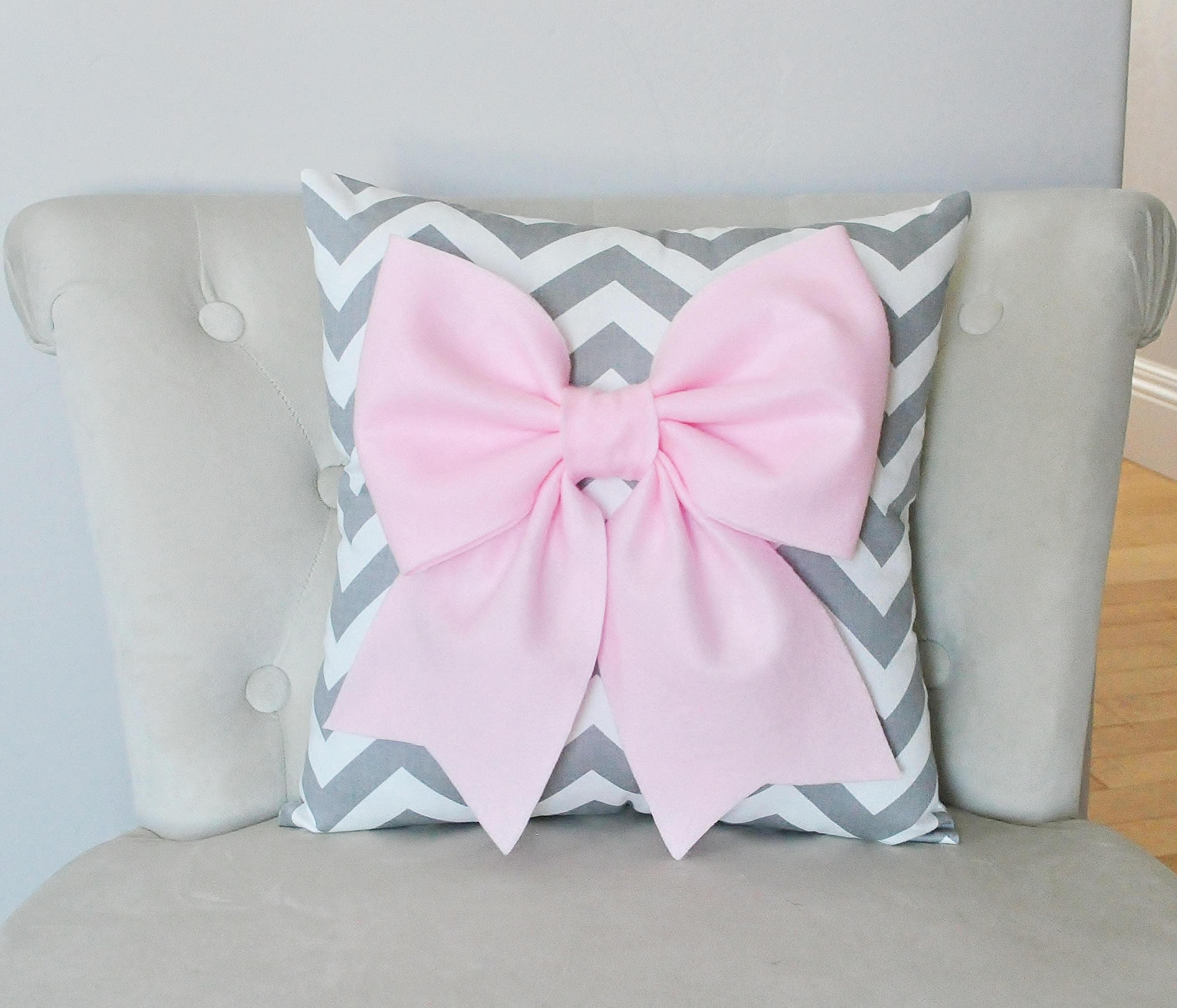 Baby Pink Bow on Gray White Chevron Pillow Baby Nursery Decor
