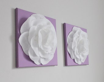Nursery Art, Nursery Wall Art, White Purple, White Lilac Nursery, Nursery Wall Hangings, Nursery Canvas, Set of Two, Canvas Art Set