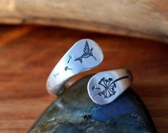 Hummingbird Dandelion ring, Dragonfly ring, Sterling silver Twisted dandelion and hummingbird ring, Hand stamped hummingbird jewelry
