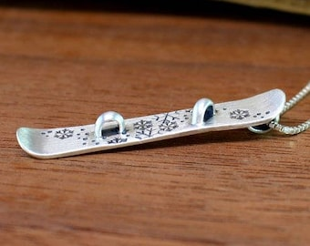 Snowboard necklace, Sterling silver snowboard